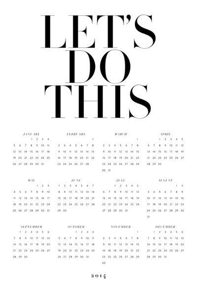 2014 calendar poster