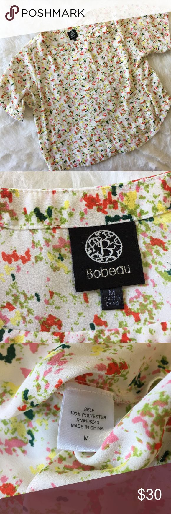 Bobeau Multi Color Blouse This blouse is in perfect condition! Size medium. No flaws like stains or holes. Smoke and pet free home. No trades. bobeau Tops Tees - Short Sleeve