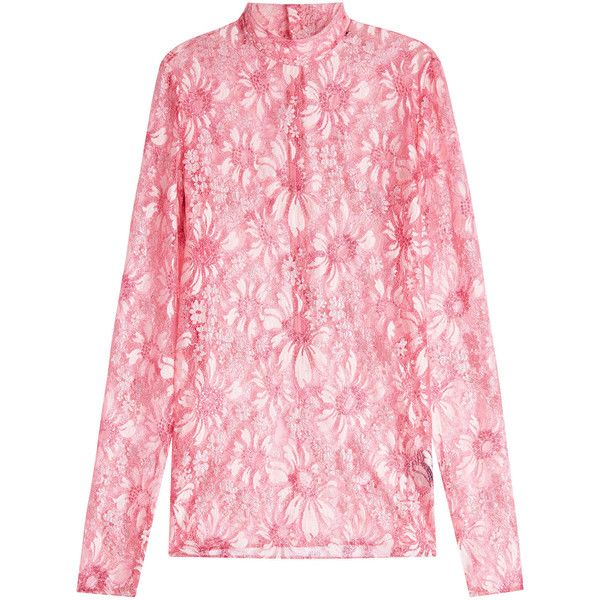 CALVIN KLEIN 205W39NYC Lace Blouse (€1.300) ❤ liked on Polyvore featuring tops, blouses, wet look top, shiny blouse, high-neck lace tops, high neck blouse and pink lace top