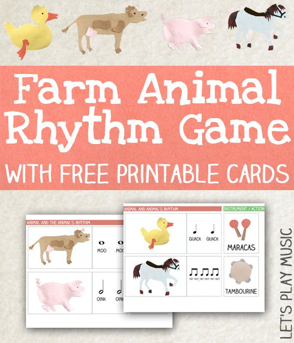 Animal Rhythm Game with Free Printable Rhythm Cards from Let's Play Music