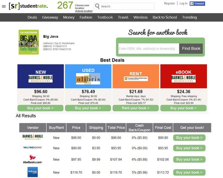 Textbook Comparison Tool: best places to find cheaper college textbooks