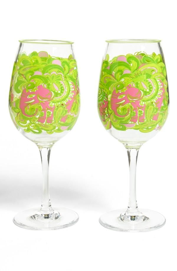 Colorful lily pulitzer wine glasses pop of color for How to paint a wine glass with acrylics