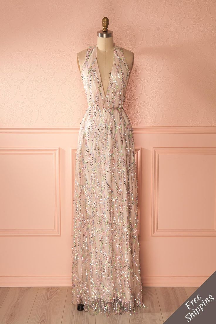 Esmeraldina - Pink sequins gown, to make your special event a fairytale. #promdresses #prom #sequins