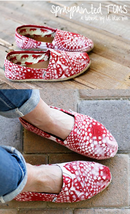 Updated my old dingy TOMS....with a little spraypaint and a few doilies. I think I like them even better now. #diy #tutorial