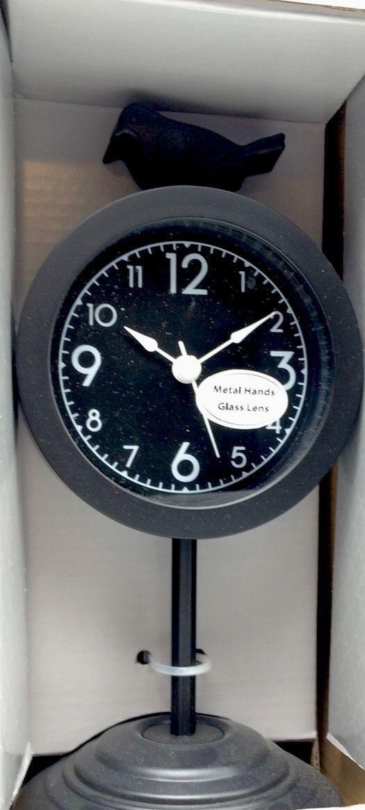 Clock Mantel Desk Shelf Black White Numbers 4x8.46 inch Contemporary Battery Ne