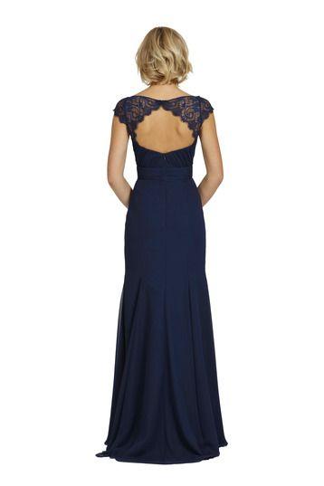 Stunning open back Jim Hjelm bridesmaid dress. Perfect for a vintage, romantic, or black tie wedding. Find this dress and 1000 other bridesmaid dresses on Weddington Way!
