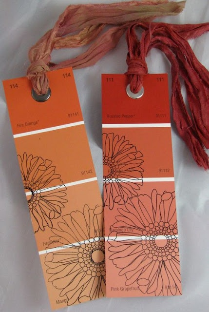 Bookmarks made out of paint samples! I did this a while back but didn't think of all the detail u can put into them!