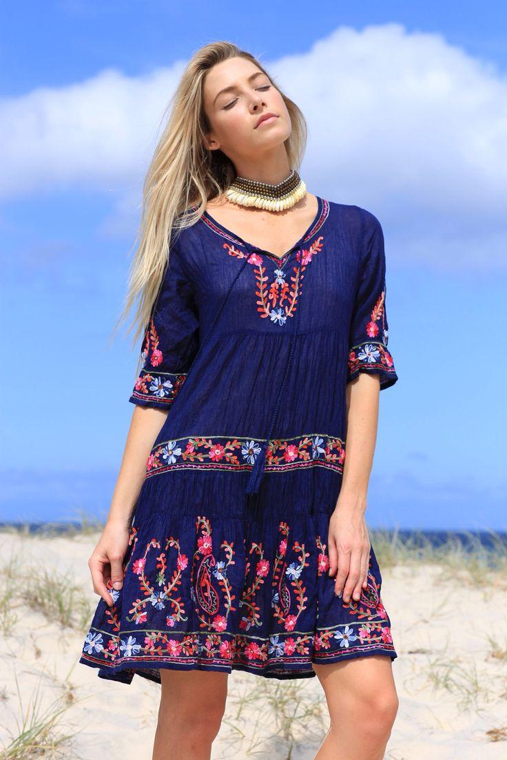 Tapestry dress - navy