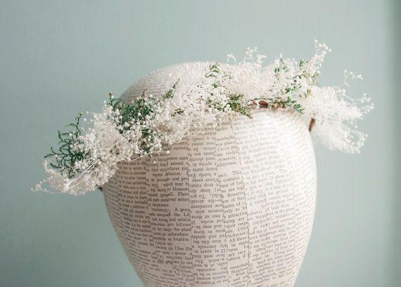 baby's breath bridal floral crown, tiara, flower girl crown, gypsophila wedding hair accessories - Bella