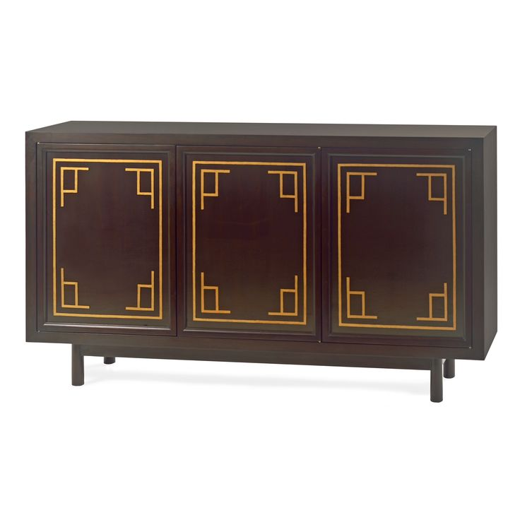 Concerto Sideboard   This three door sideboard is finished in black mahogany with gold leaf stenciled glass doors. With its Mid-Century inspired structure and touch of Asian influence, this piece can be a buffet, a media center, or a stand alone piece. Pair it with a dramatic gold leaf mirror from the Alden Parkes mirror collection.