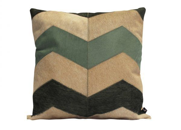 GRANDE LOCO CUSHION - WASABI The poppy Art Hide Grande Loco cushion features custom dyed Wasabi paired with complementary tones of natural cowhide in light caramel.  Cushion measures 50 x 50cm. Comes with Tonal Suedette Backing. PET Fill Included.  For bespoke sizes, please contact us.