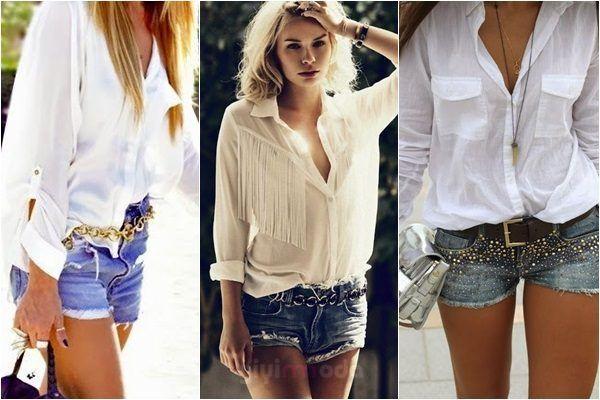 denim short and White shirt