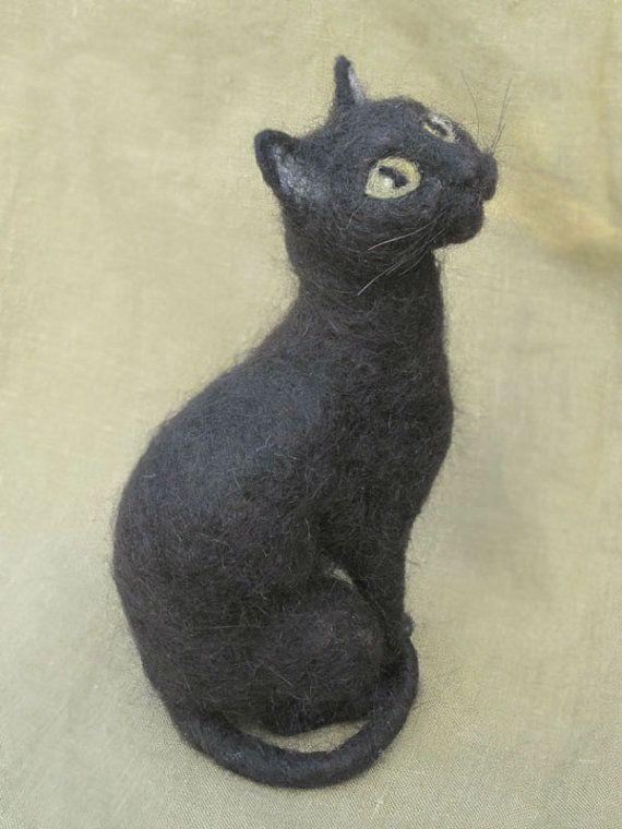 needle-felted kitty | Needle felted cat portrait, your kitty custom made, memorial keepsake