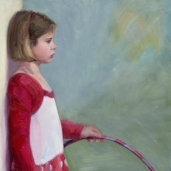 """Sweet Child of Mine"" 70x70 cm, oil on linen.  Portrait painting by Carolien van Olphen"