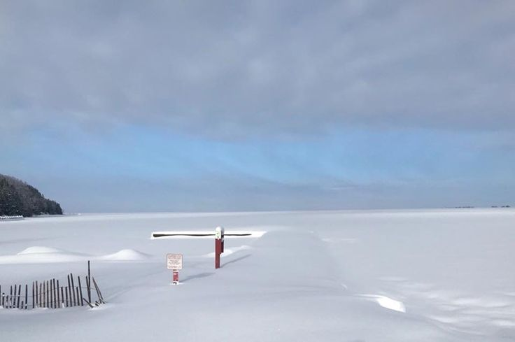 The Sister Bay Beach Dock in the snow. Sister Bay, Door County, Wisconsin