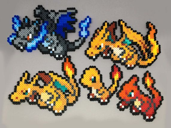 Handmade perler Pokemon creations! Feel free to request a shiny version of the Pokemon for no extra charge!  Here are the sizes: Charmander - 3.5in H x 4in W Charmeleon - 4.25in H x 4.25in W Charizard - 5.25in H x 6.25in W Mega Charizard X - 4.5in H x 7.5in W Mega Charizard Y - 5in H x 7.25in W  When finished with a necklace, the chain is silver plated and closed with a lobster clasp.