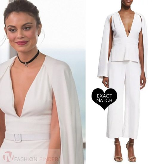 Cristal Flores in white caped jumpsuit worn on Dynasty season 1 ... 6717a8dc0