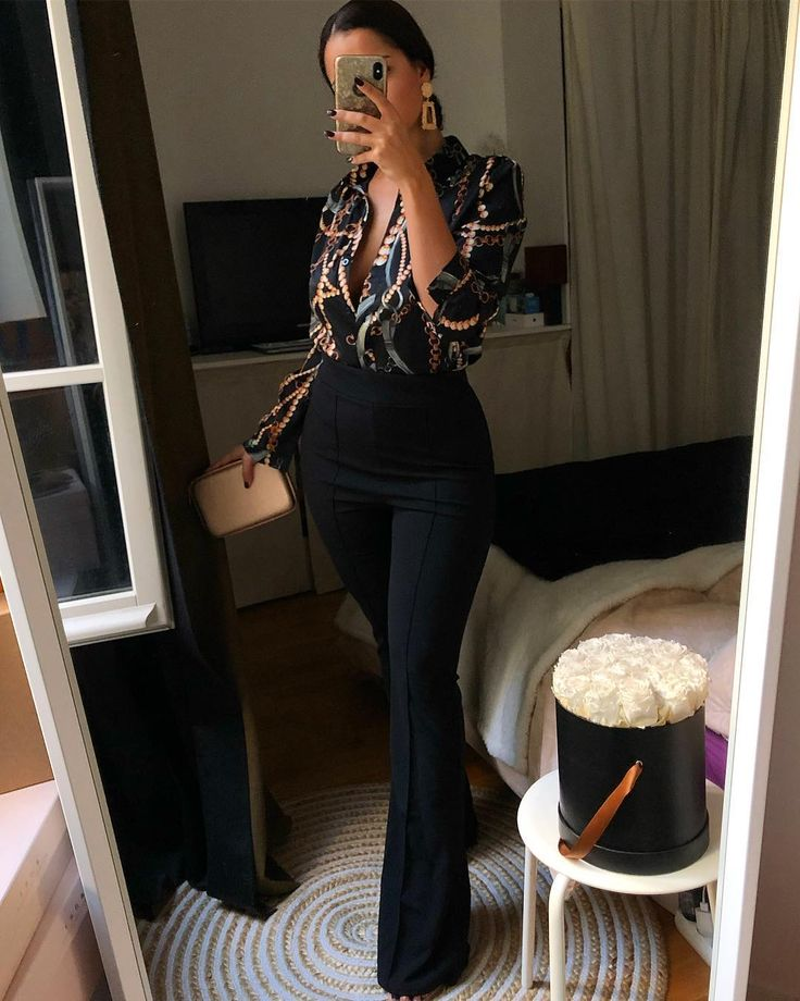 Love this style model, fitted large trousers / pants with printed shirts for wo…