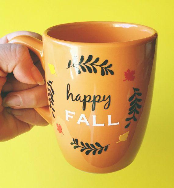 Happy Fall Mug // Orange - Multi-purpose Container - Coffee Mug - Makeup Holder - Decor - Drinking Mug - Fall Mug - Autumn Mug - Leaves