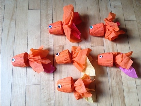 Goldfish craft. These actually have hooks on the end for a fishing game but I think they'd make a cute craft without the hooks.