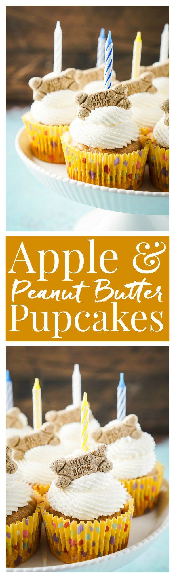 These Apple & Peanut Butter Pupcakes are a great homemade treat for your dog's birthday! Más