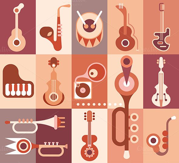 Music instruments guitar, piano, saxophone, violin, trumpet and drum. Vector illustration.