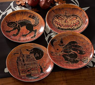 Spooky Halloween Icon Salad Plates, Mixed Set of 4 #potterybarn