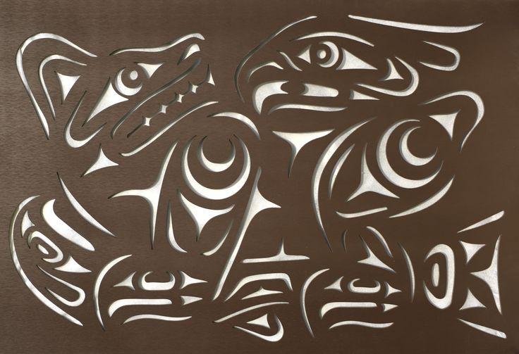 Bear, eagle and salmon privacy screen.   #fineart #salish #garden #landscape #beautiful #outdoor #bear #eagle #salmon #privacyscreen #fencing #fencepanels #yard #decorativescreen #gardendeco #gardendecor #gardening #firstnation #aboriginalart #indigineousart #firstnation #aboriginal #indigineous