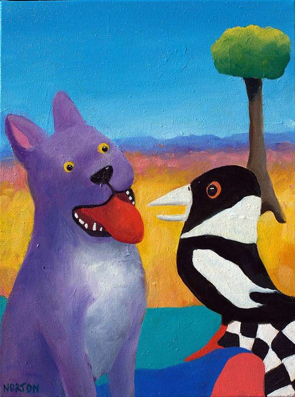 Helen Norton - Purple Dog With Magpie - Painting - Colourful