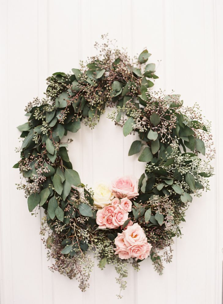 Seeded Eucalyptus and Pink Rose Wreath | Flowers – Orange Blossoms Florals | Joyce & Ko Events | Judy Pak Photography https://www.theknot.com/marketplace/judy-pak-photography-new-york-ny-870194 | International Polo Club – Wellington, Florida |