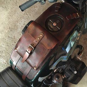 BMW r45 r65 r80 R100 series leather tank belt and documents bag Cafe Racer and Scrambler. COD 34
