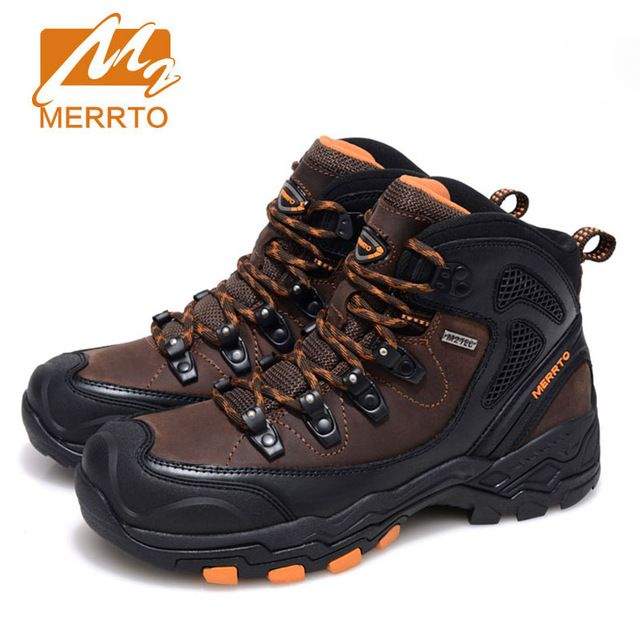 2017 MERRTO Men Hiking Shoes Cowhide Hiking Boots Rubber Sport Trekking Shoes High Top Fishing Shoes zapatos outdoor hombre free shipping worldwide
