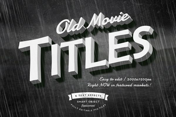 Free Download : Old Movie Titles Layer Styles (for a limited time)