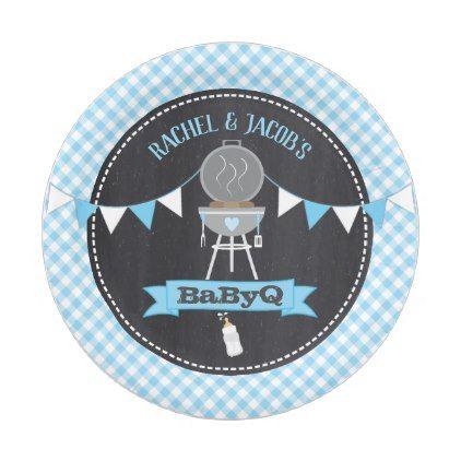 BaByQ Brötchen in der Ofen-Babyparty-Blau-Pappteller   – bbq party