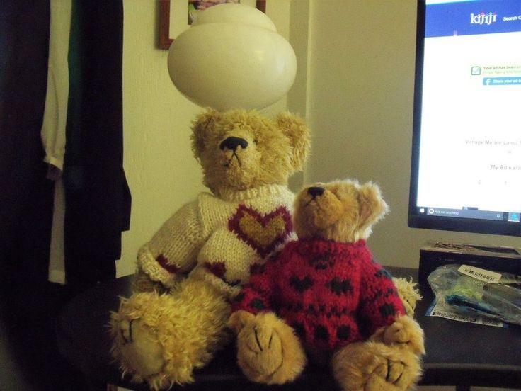 Two Ty Bears Retired - Excellent Condition - 1993 with sweaters | eBay