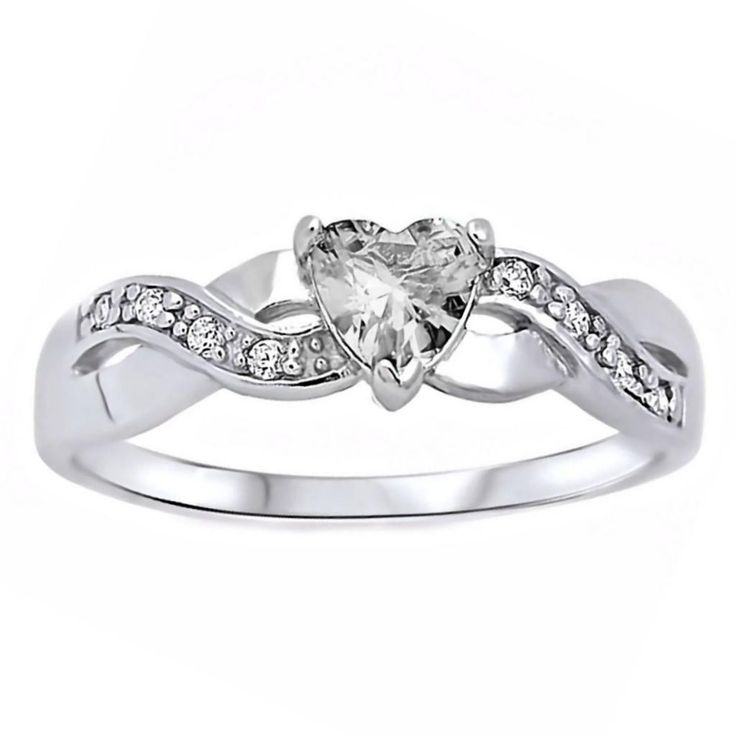 Pabla: 0.6ct Heart-cut Russian Ice CZ Crossover Infinity Promise Ring