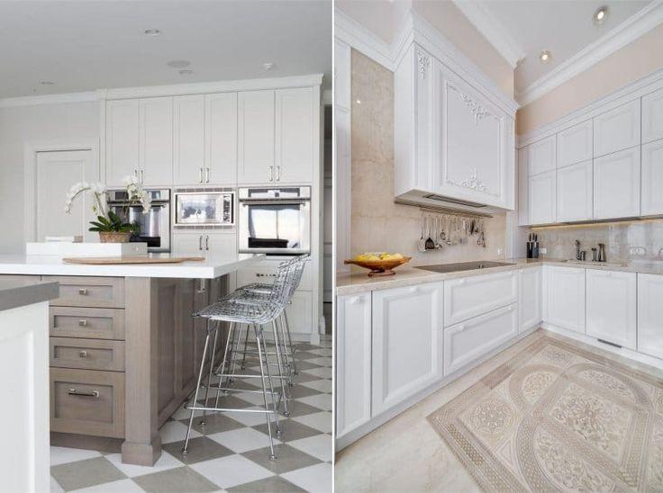 Пол из плитки в интерьере кухни в классическом стиле