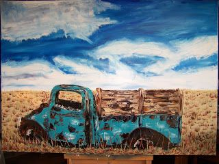 A Pretty Talent Blog: Textured Oil Painting of an Abandoned Car Wreck