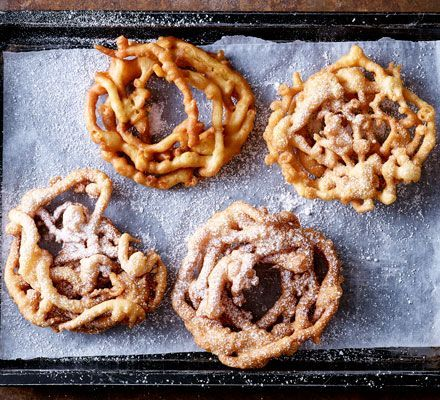 These American funfair favourites are a cross between a doughnut and churros - fill a funnel or piping bag with batter and drizzle into hot oil to make squiggly round cakes