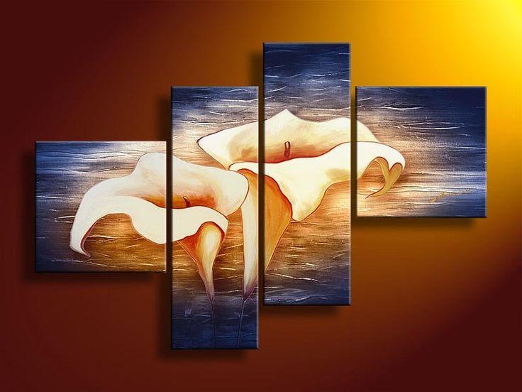 Blue Orange Flower Painting Hand painted canvas art