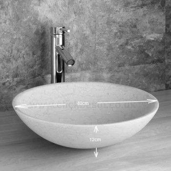 Galala Limestone 40cm Circular Portici Vanity Washbasin With Tap and Waste