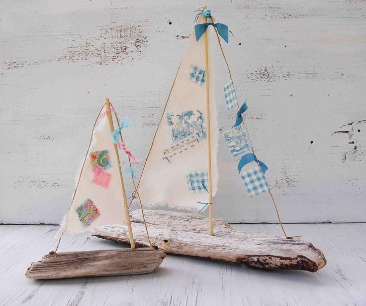 Handmade driftwood boats