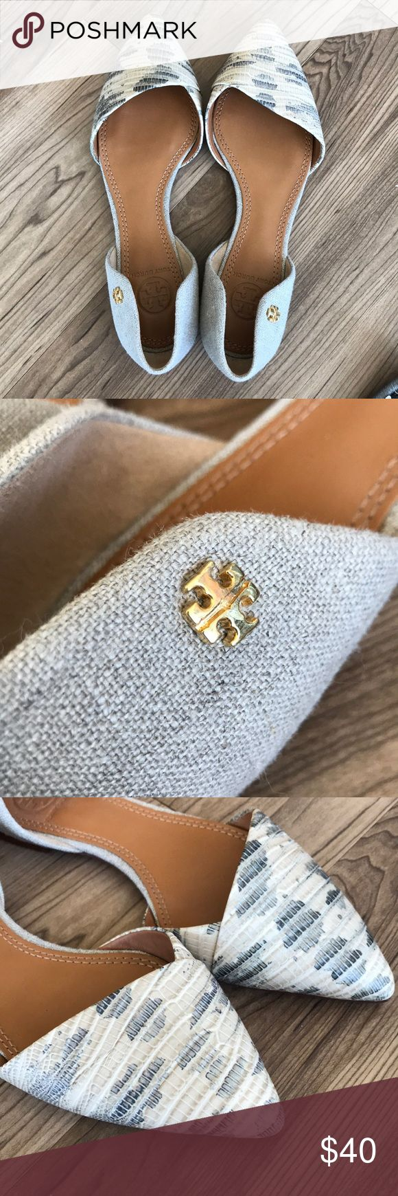 Tory Burch pointed toe snakeskin flats Gorgeous Tory Burch pointed toe snakeskin two-toned grey flats with tweed heels. Gold enamel Tory Burch symbol. Mint condition -Size 6M Tory Burch Shoes Flats & Loafers