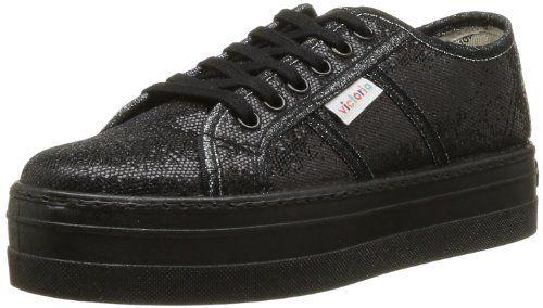 Victoria Blucher Glitter Plataforma, Damen Sneaker  Schwarz Noir (Negro) 39 - http://on-line-kaufen.de/victoria/39-eu-victoria-blucher-rayas-plataforma-damen