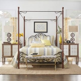 Shop for LeAnn Graceful Scroll Iron Metal Queen Canopy Poster Bed by TRIBECCA HOME. Get free shipping at Overstock.com - Your Online Furniture Outlet Store! Get 5% in rewards with Club O!