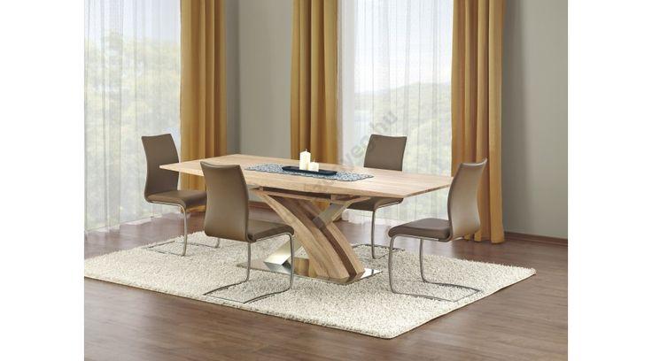 SANDOR - egy nagyon szép, elegáns, kihúzható étkezőasztal, rozsdamentes acél vázzal. Az étkezőasztal mérete: 160÷220/90/75 cm. Az asztal a fotón K181 székekkel látható, melyek nem tartoznak az asztalhoz, de webshopunkban külön