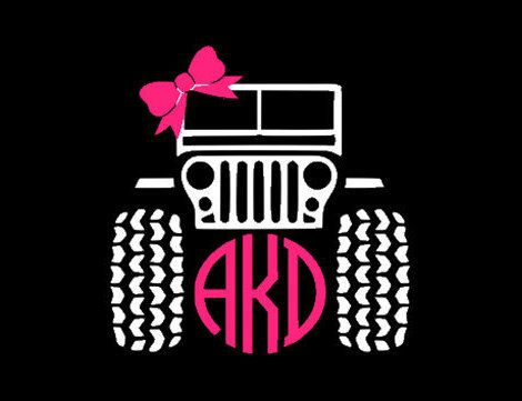 Jeep Circle Monogram With Bow Decal 5 Inch X 5 Inch By