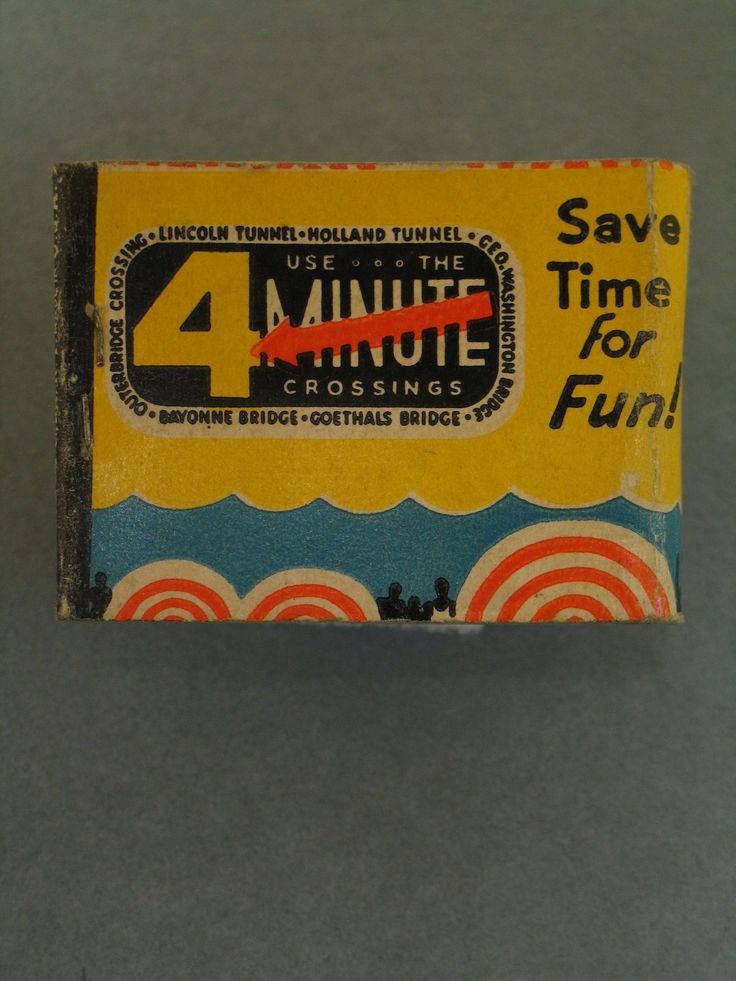 """Back of Lion Match Company Incorporated matchbox featuring an advertisement for the bridges and tunnels crossing the Hudson River and the slogan """"Save time for fun!"""" World War Two era. From the collection of the Air Force Museum of New Zealand."""