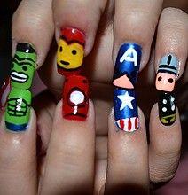 The-Avengers-Nail-Art-Designs: Superhero Nails, Nails Art, Nails Design, Captain America, Avengers Nails, Nails Polish, Irons Men, Super Heroes, The Avengers