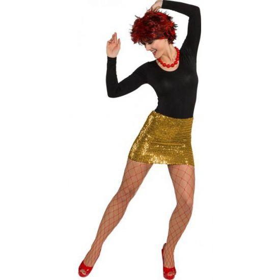 Goud rokje met pailletten voor dames. Dit gouden glitter rokje is voorzien van pailletten. Dit rokje is ook als topje te dragen.